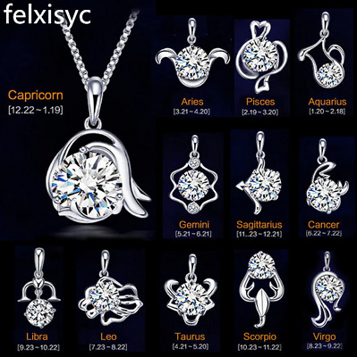 12 Zodiac Constellation 925 Sterling Silver Zircon Pendant Chain Necklace gifts