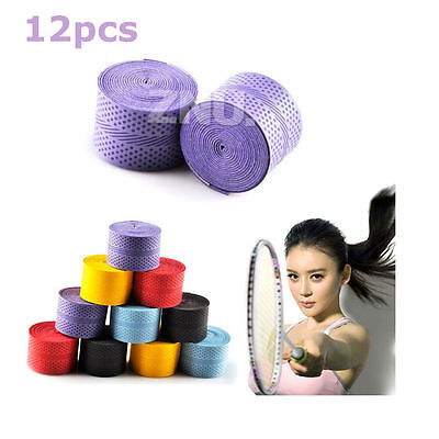 12pcs Anti-Slip Tennis Racket Badminton Racket Squash Tape Grips Overgrips