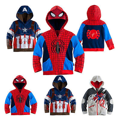 UK Spiderman Captain America Baby Boy Girls Kid Hood Jacket Coat Outwear Clothes