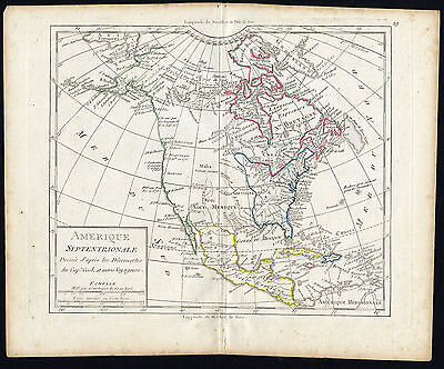 Antique Map-NORTH AMERICA-USA-Vaugondy-1785