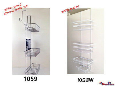 Over Door Shower Caddy Chrome/White Metal 3/4 Tier Storage Rack Bathroom OZ