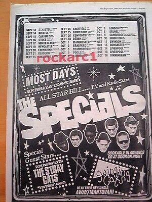 SPECIALS / STRAY CATS 1980 UK Tour Poster size Press ADVERT 16x12 inches- 2 TONE