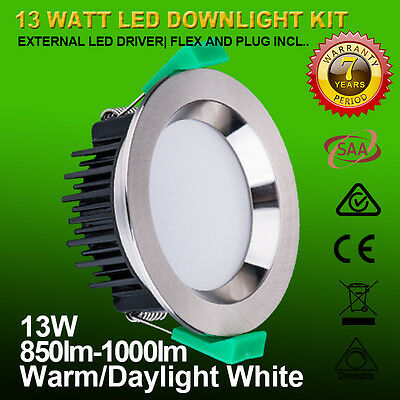 10Pcs 10W/13W/18W Dimmable Led Downlight Kit Samsung Smd White & Chrome Fitting
