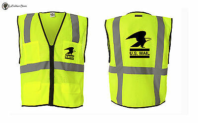 Retro mailman mail USPS  delivery safety awarness reflective vests