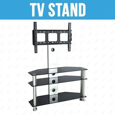 Black&silver Tempered Glass Tv Stand Chrome Bracket Lcd Plasma Led With Shelves