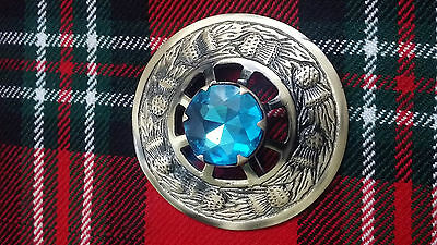 Scottish Kilt Fly Plaid Brooch Sky Blue Stone/Fly Plaid Brooch Thistle Antique