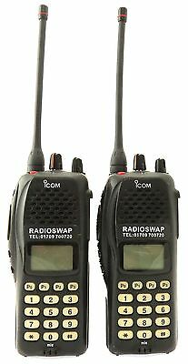 ICOM IC-F41GT UHF 4 WATT WALKIE-TALKIE TWO WAY RADIOS & G-SHAPE EARPIECES x 2