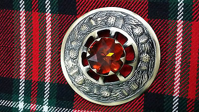 "New Scottish Kilt Fly Plaid Brooch Thistle Design Browne Stone Antique 3""/Brass"
