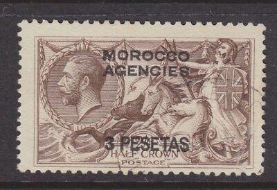 Uk Morocco Agencies 1914 Used Sc #55 Seahorses Overprint Cat $160