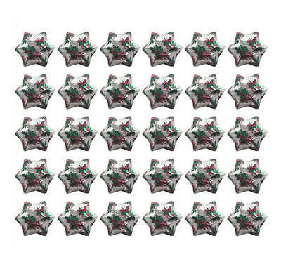 100 Silver Holly Print Milk Chocolate Stars - Christmas Gifts Favours Hampers