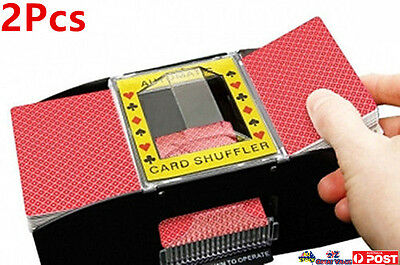 2xAutomatic Playing Cards Shuffler Sorter 2 Decks casino Battery Operated LS0031