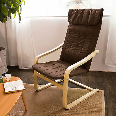 SoBuy® Relax Lounge Chair, Bentwood Armchair with Cushion, FST17-BR, Brown, UK