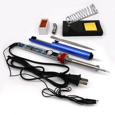 220V 60W Adjustable Electric Temperature Gun Welding Soldering Iron Tool kit