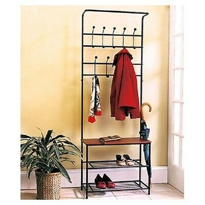 Coat Rack Shoe Entryway Bench Mud Room Hat Umbrella Stand All In One