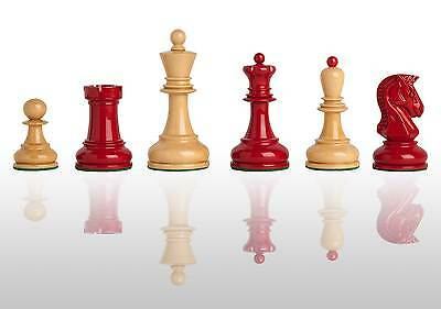 """The Dubrovnik Chess Set - Pieces Only - 3.75"""" King - Red and Natural Lacquered"""
