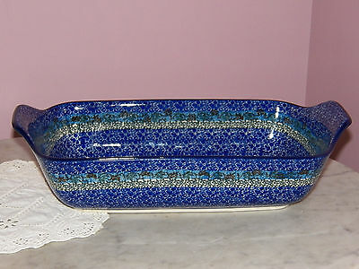 Ceramika Artystyczna Polish Pottery Handled Rectangle Baker! Reflections Pattern