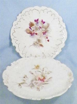 2 Flowered Porcelain Dessert Plates Antique Pastels Asymetrical Cake As Is Cond