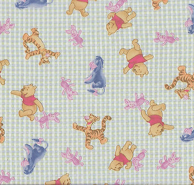 Winnie The Pooh Tigger Piglet Eeyore Check Girls Boys Licensed Fabric FQ New