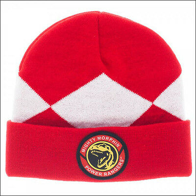 Mighty Morphin Power Rangers Red Roll Slouch Knit Cuff Beanie Cap Hat OFFICIAL