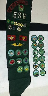 Vintage girl scout sash patches pins 20th anniversary