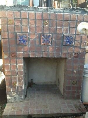 Old Gladding McBean Tile Fireplace GMB Catalina Batchelder Era