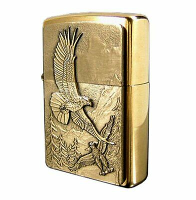 Zippo Where Eagles Dare Emblem Lighter, Brushed Brass, Genuine Windproof #20854