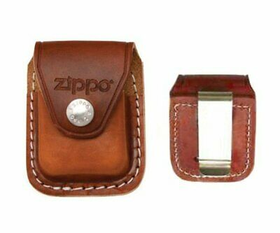 Zippo Metal Clip Brown Leather Pouch, For Windproof Lighters #LPCB