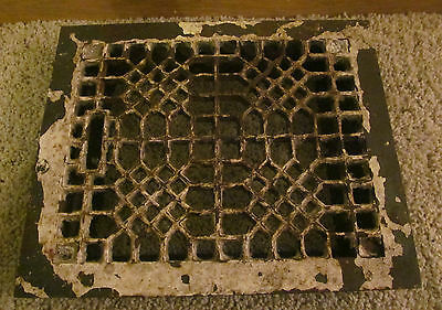 Antique Cast Iron Floor Wall Heat Grate Louvered Style Decorative Unique Design