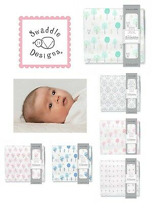 "SwaddleDesigns 100% Cotton Muslin Swaddle Blanket 46""x46"" Cute Designs! Gift Box"