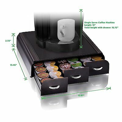 36 K-Cup Organizerb Triple Drawer Pod Holder Coffee Caddy Black Storage Serving