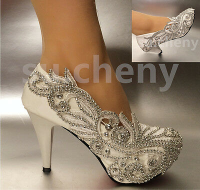 """2""""/ 3"""" / 4"""" Lace white ivory crystal Wedding shoes Bridal heels pumps size 5-12"""