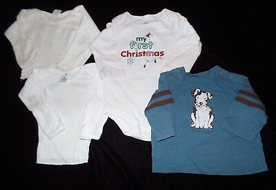 4 pc BABY BOYS LOT shirts TEES MY FIRST CHRISTMAS GYMBOREE FURRY PUPPY DOG 3/6 M