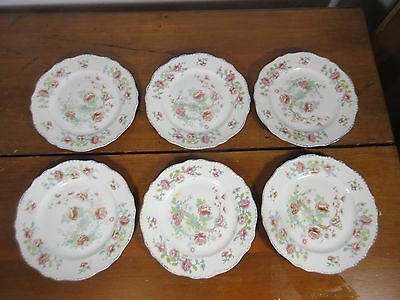 "Set of 6 Steubenville Ivory 8"" Salad Luncheon Plates Floral Design Pattern"