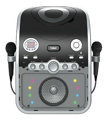 Bluetooth Naxa Two Mics Karaoke Party System Machine Cd+G Player Led Lights New
