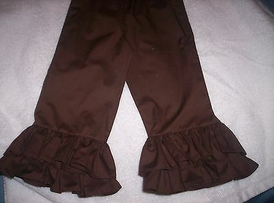Brown Custom Boutique Double Ruffle Pants size 2T-5