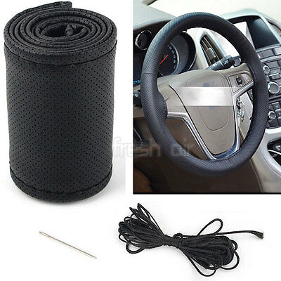 Universal PU Leather DIY Car Steering Wheel Cover With Needles and Thread