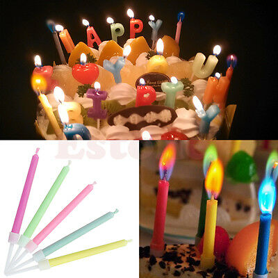 LOT Pack of 5pcs Colored Candles Safe Flame Taper Party Birthday Cake Decoration
