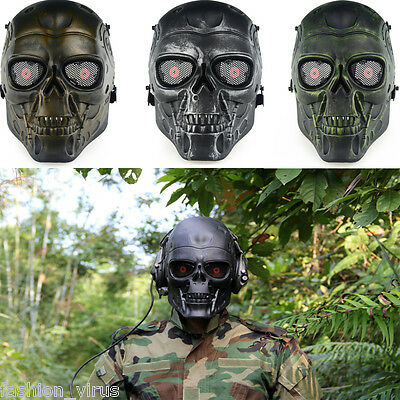 Tactical Protection Gear Full Face Skull Mask Outdoor War Game Airsoft Paintball