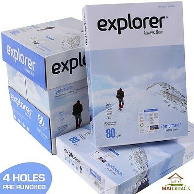 5 Reams (2500 Sheets) Explorer iPerformance A4 White Paper 80gsm HOLE PUNCHED