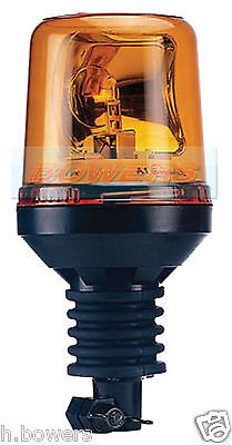 12V/24V Din Pole Stem Flexi Spigot Mount Rotating Flashing Orange/amber Beacon