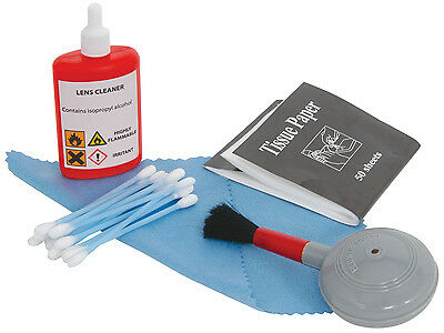 Camera & Camcorder Cleaning Kit with blower brush, cleaning solution cloth swabs