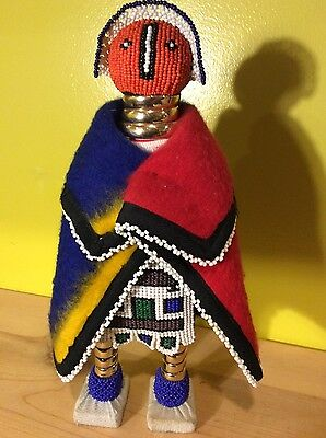 Vtg african beaded doll colorful art sculpture wool decor tribal native unique