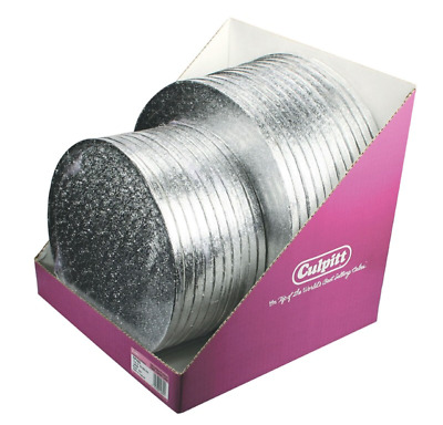 Culpitt Pack of 5 Cake Boards Round or Square Silver Drum Board 13mm Thick