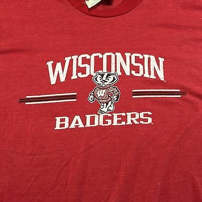Mens Wisconsin Badgers Red Ringer Logo T Shirt By Old Varsity Blues Sz 2XL
