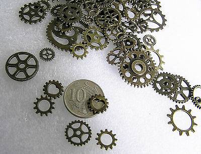Jewelry Findings Assorted Steampunk Metal Geared Antique Brass Charms