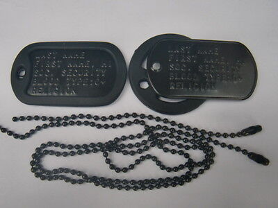 Black Dog Tags U.s Military Type Embossed Wth Your Text Information