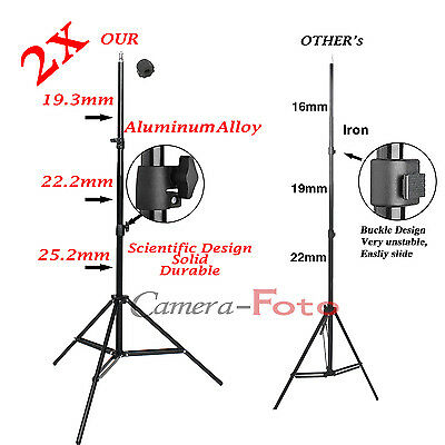 2x Professional Photo 2M 7ft Light Stand Support Tripod fit Studio Lighting Kit