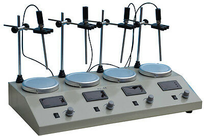 New 4 Head Digital Thermostatic Magnetic Stirrer Multi Unit Hotplat Mixer 110V