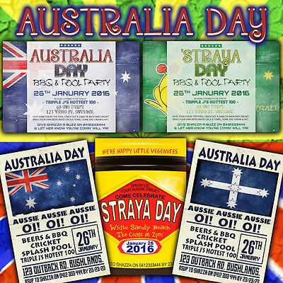 Personalised Invitations - Australia Day Boxing Kangaroo Vegemite Aussie Eureka