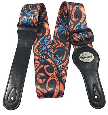 """100% Leather Ends SCRIPT Guitar Strap  """"Lava Fish"""" for Electric, Acoustic, Bass"""